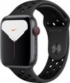 Apple - Apple Watch Nike Series 5 (GPS + Cellular) 44mm Space Gray Aluminum Case with Anthracite/Black Nike Sport Band - Space Gray Aluminum