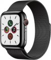 Apple - Apple Watch Series 5 (GPS + Cellular) 44mm Space Black Stainless Steel Case with Space Black Milanese Loop - Space Black Stainless Steel