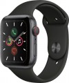 Apple - Apple Watch Series 5 (GPS + Cellular) 44mm Space Gray Aluminum Case with Black Sport Band - Space Gray Aluminum
