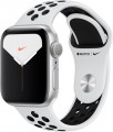 Apple - Apple Watch Nike Series 5 (GPS) 40mm Silver Aluminum Case with Pure Platinum/Black Nike Sport Band - Silver Aluminum