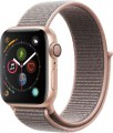Apple - Geek Squad Certified Refurbished Apple Watch Series 4 (GPS) 40mm Gold Aluminum Case with Pink Sand Sport Loop - Gold Aluminum